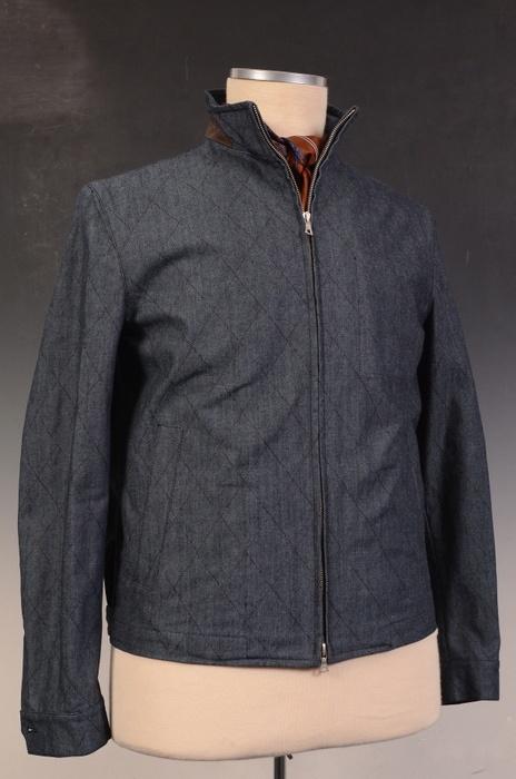 Flanella Grigia Roma -- giacca in blu di cotone, cucita trapunta, con dettagli in pelle-perforata marrone