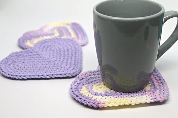 Heart shaped Coffee Coasters Purple Mug Rugs Cup Mats