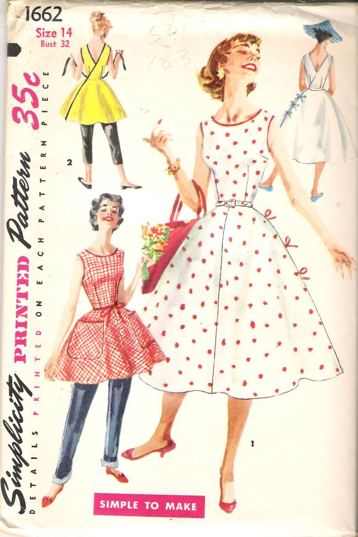 """Vintage 1956 Simplicity 1662 Wrap Around Dress in Two Lengths Sewing Pattern Size 14 Bust 32"""" UNCUT by Recycledelic1 on Etsy"""