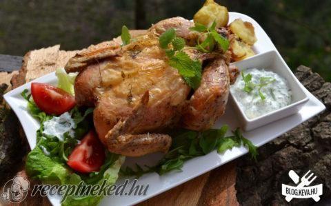 Sóágyon sült csirke héjában sült krumplival recept fotóval