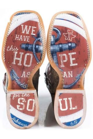 Anchor Tin Haul Boot With We Have This Hope As An Anchor Sole Cowboy Boots Urban Western Wear