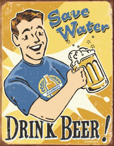 Schonberg - Save Water Placa de lata na AllPosters.com.br
