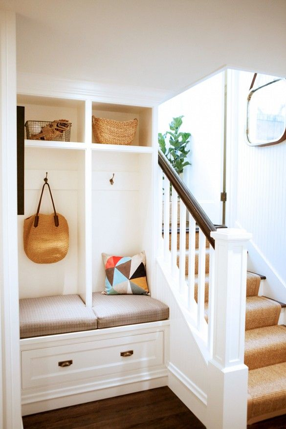 Mudroom with bench and built-in storage.