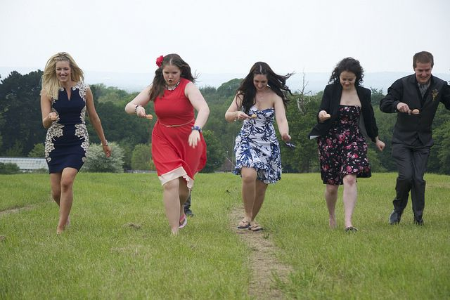 Wedding egg and spoon race. Simple and makes great photos of your guests!