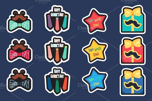 Happy Fathers Day Stickers by barsrsind on @creativemarket