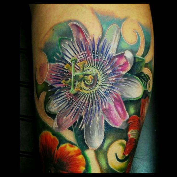 Passion flower tattoo, exotic flower tattoo