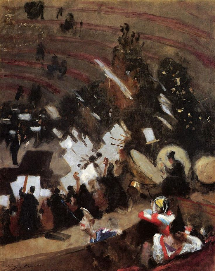 artishardgr:  John Singer Sargent - Rehearsal of the Pas de Loup Orchestra at the Cirque d'Hiver 1878