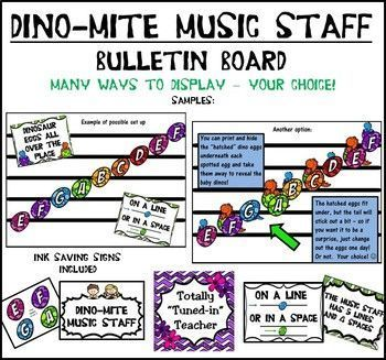 "Treble Clef Music Staff Bulletin Board display to help your students learn FACE/EGBDF - ""Dinosaur eggs all over the place!  On a line or in a space!"""