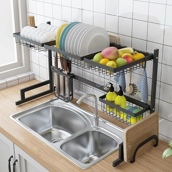 Dish Drying Rack Over Sink Drainer Shelf For Kitchen Supplies