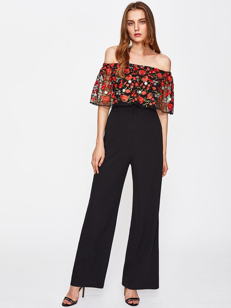 Shop Embroidered Mesh Flounce Trim Off Shoulder Palazzo Jumpsuit online. SheIn offers Embroidered Mesh Flounce Trim Off Shoulder Palazzo Jumpsuit & more to fit your fashionable needs.