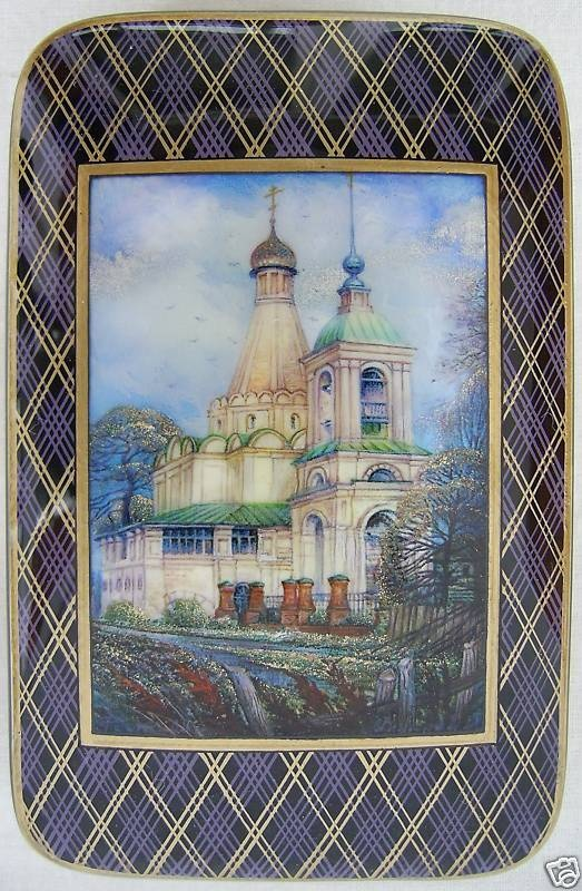 Mikhalev, Fedoskino lacquer box, Cathédrale