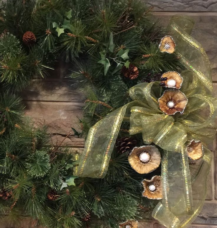 Dried Maclura pomifera flowers added to my holiday wreath for some natural sparkle