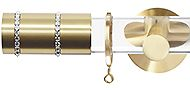Jones Strand Acrylic 35mm Curtain Pole, Satin Brass Cylinder, Swarovski Crystal Clear