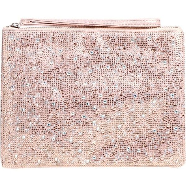 CARVELA Gaye sequin-embellished clutch (£69) ❤ liked on Polyvore featuring bags, handbags, clutches, sequin handbags, sequin clutches, pink purse, zip purse and zipper purse