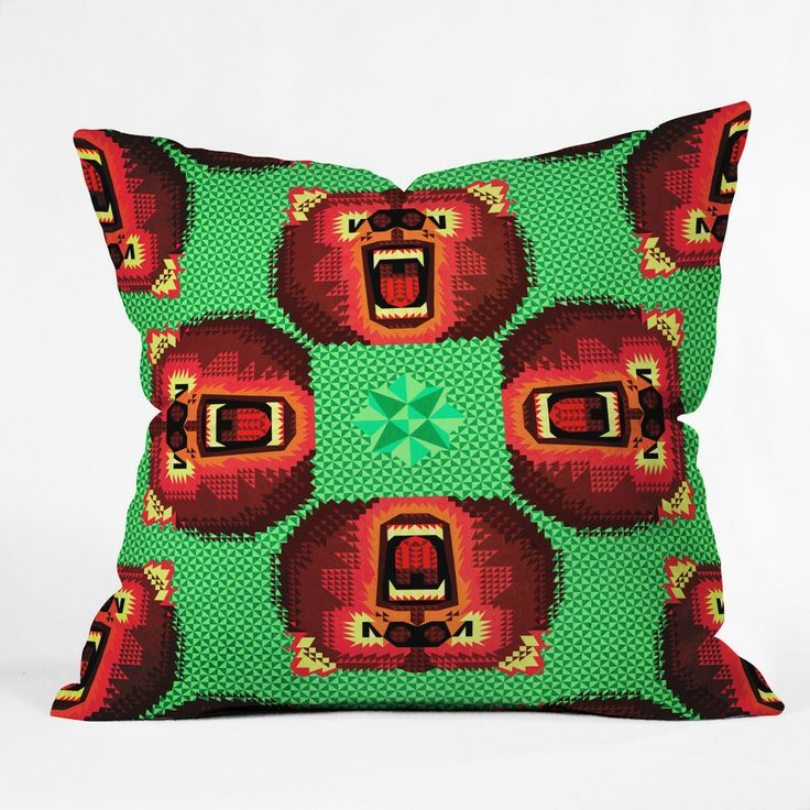 Chobopop Geometric Bear Outdoor Throw Pillow | DENY Designs Home Accessories