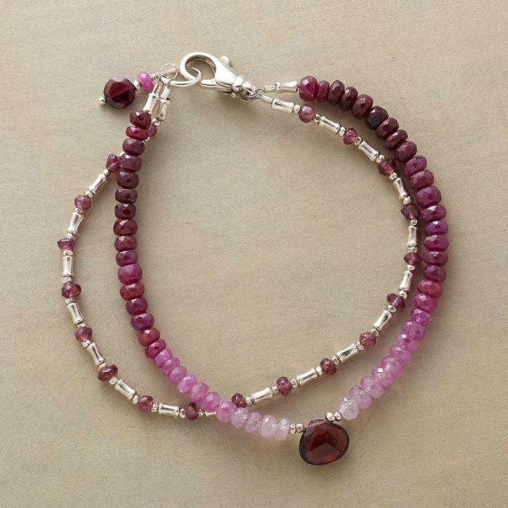 """LOVELIGHT BRACELET�--�A double loop of sparkling spinel, garnet and sterling silver illuminates the wrist with a sophisticated ombr� look. Sterling silver lobster clasp. Handcrafted in the USA. Exclusive. 7-1/2""""L."""