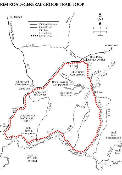 United States Forest Service Map Of General Crook Trail, Arizona. Near Payson In The Blue Ridge Ranger District of the Coconino National Forest. Travels & Tours, Pictures, Photos, Images, & Reviews.