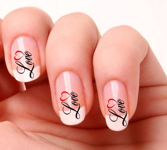Swirly Love Nail Transfer - The Wedding Faire