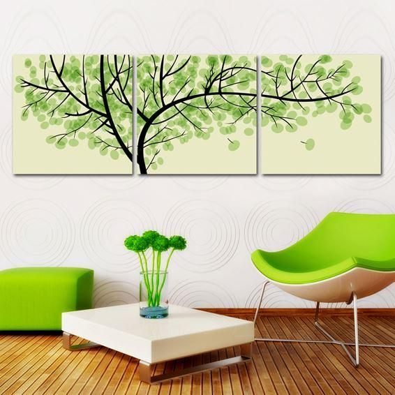 3 Pieces Free Shipping Modern Wall Oil Painting Living Room Decor Green  Money Tree Wall Art Picture Paint On Canvas Prints Part 77