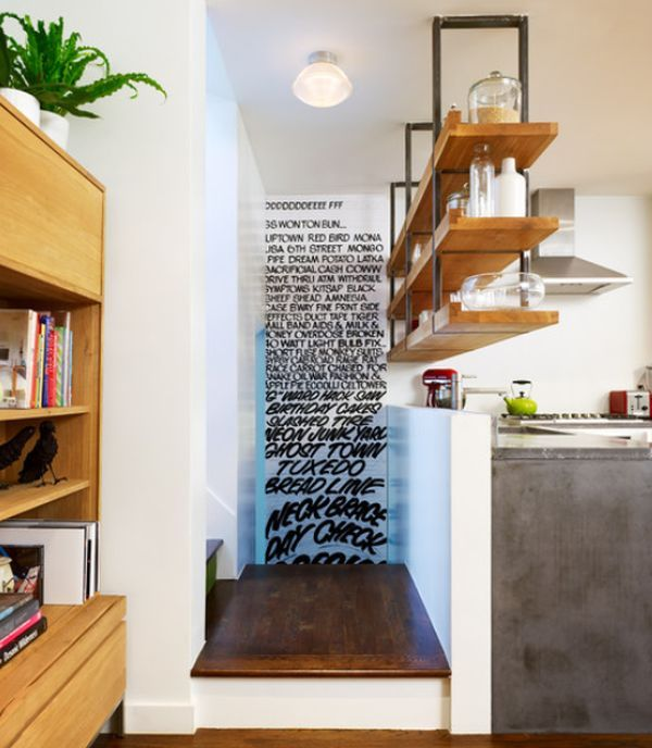Love the hanging shelves