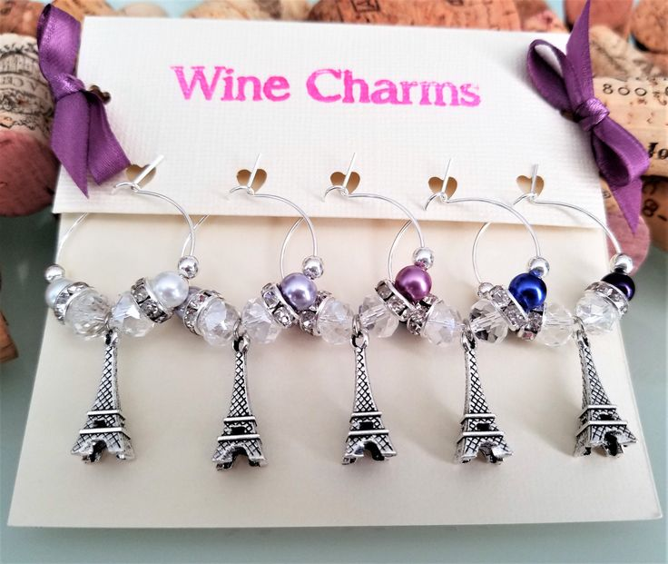 Paris Eiffel Tower Wine Charms, Bridal Shower Wine Glass Charms, Purple Wine Charms, Wine Gift, Party Favors, Handmade by LasmasCreations by LasmasCreations on Etsy  #ParisBridalShower #ParisBridalShowerDecor #ParisBridalShowerFavors #WineGlassCharms #ParisFrance #EiffelTowerWineGlassCharms #Setof4 #UniqueWineCharms #FashionableWineCharms #WineAccessories #UniqueWineGift #ParisThemedGifts #GiftForHer #ParisBirthdayGift #WineGiftBasket  #LasmasCreations #shop @ #etsy