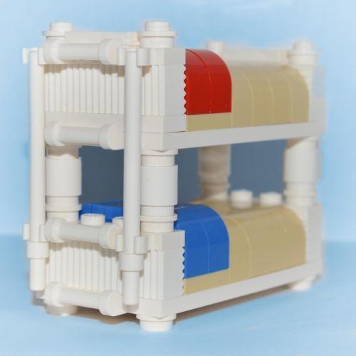 LEGO Furniture: Bunk Bed (White)   Custom Kids Bedroom Set  [minifig,home,town]