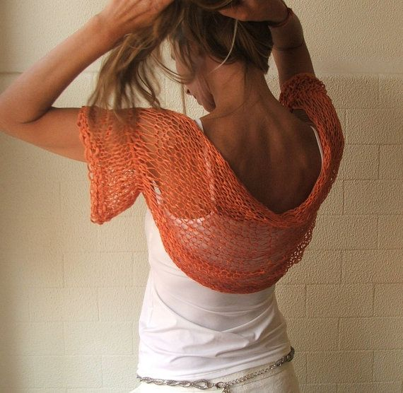 light orange short sleeved shrug by ileaiye on Etsy,