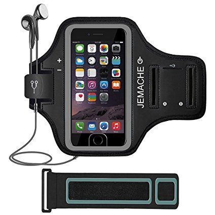 iPhone 7 Plus Armband, JEMACHE Fingerprint Touch Supported Sports Running Exercise Workout Gym Arm Band Case for iPhone 7 Plus with Extention Strap (Black)