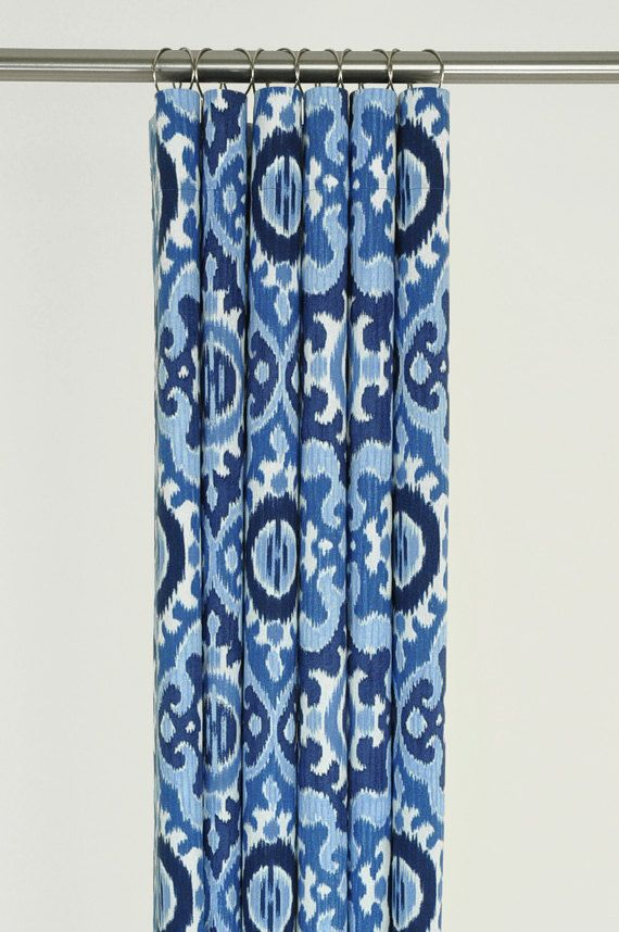 Navy Blue Ikat Shower Curtain 72 X 72 Mediterranean By Pondlilly Bathroom Ideas Pinterest