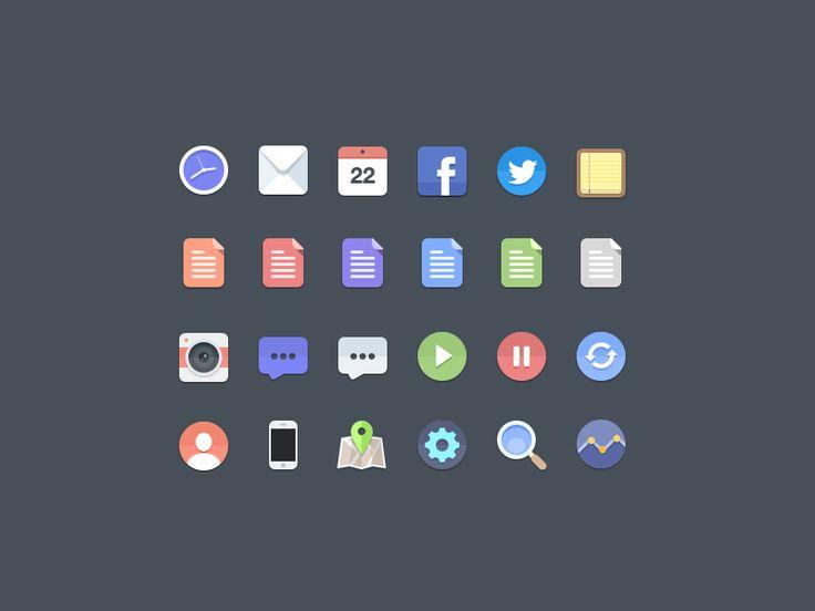 Hello,  I created some flat icons, hope you like it. 2x for full.  Download here: http://cl.ly/2g161y0X1H0E