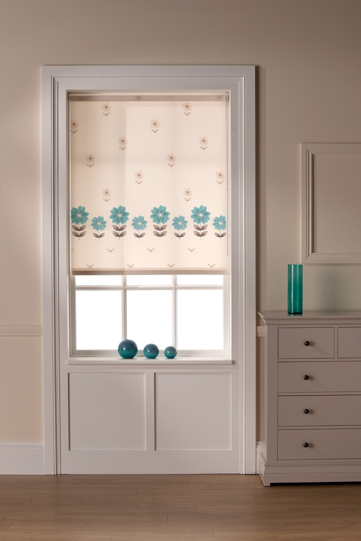 Products rollers in vogue blinds - Erin Teal Border Floral Great To Add A Touch Of Colour To Any Room Roller Blindssunshinetealrange