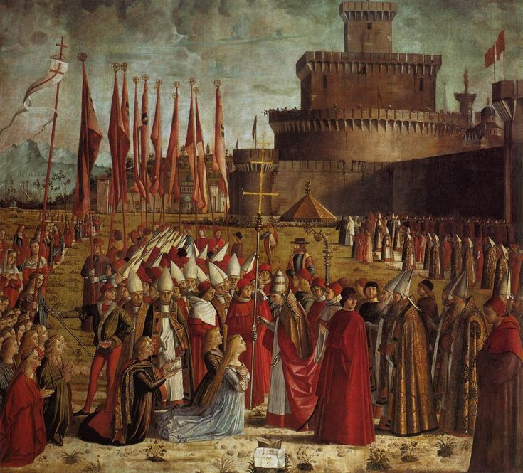 CARPACCIO, Vittore The Pilgrims Meet the Pope c. 1492 Tempera on canvas, 281 x 307 cm Gallerie dell'Accademia, Venice