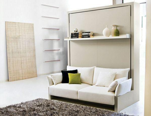 Stilvolles Klappbett Sofa Schrankbett Weiß