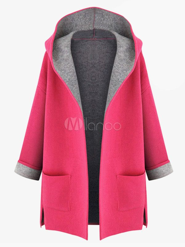 Abrigo de algodón mezclado con capucha - Milanoo.com