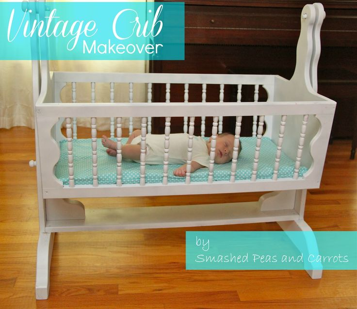 Sweet Vintage Crib Makeover plus how to paint over old varnished wood without sanding!