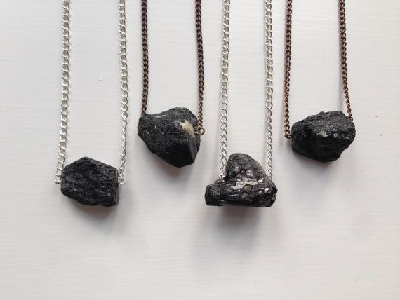 Black Tourmaline Nugget Necklace by Chromosphere on Etsy