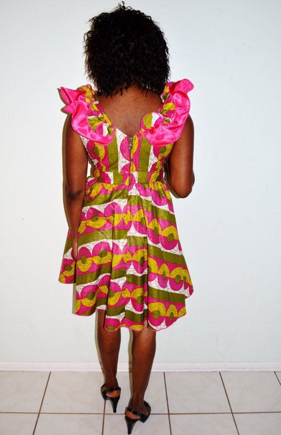 Ankara Print Short Dress African Dress Green And by ZabbaDesigns