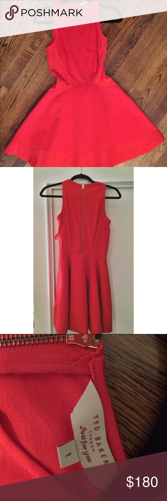 Ted Baked red cocktail dress Lightly worn. Ted Baker red dress. Very fitting and fit and flare style. Really attractive because it makes your waist look tiny!! Side zipper and gold zipper up the back. Ted Baker Dresses Mini
