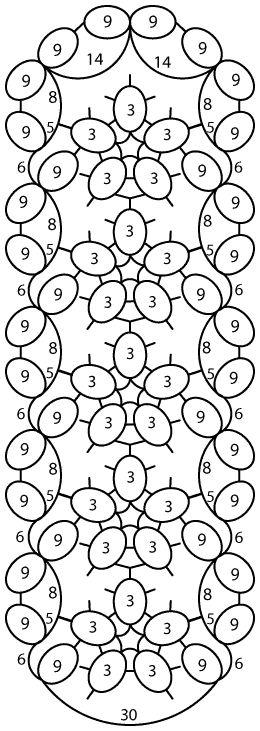 Tatting: Tatted Violet Bookmark visual pattern