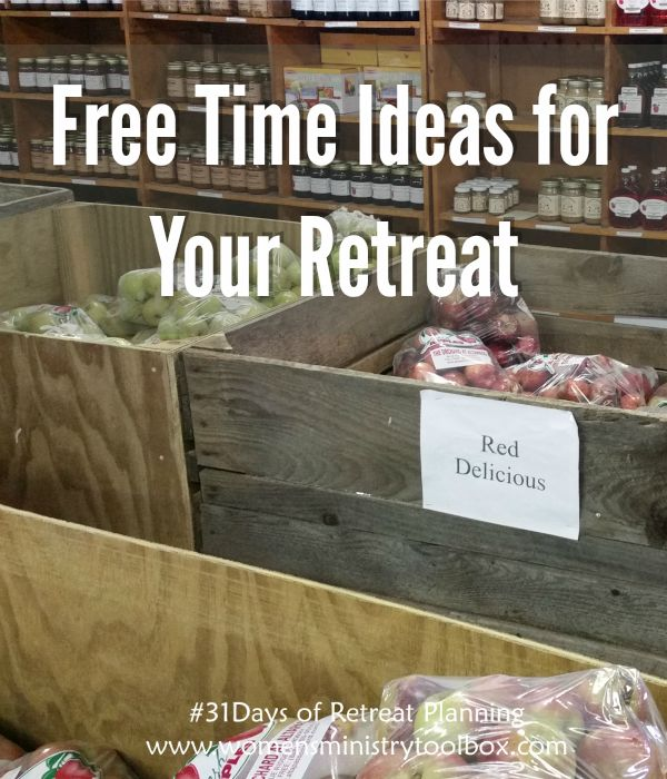 Free Time Ideas for Your Retreat. I share photos, ideas, and more at Women's Ministry Toolbox.