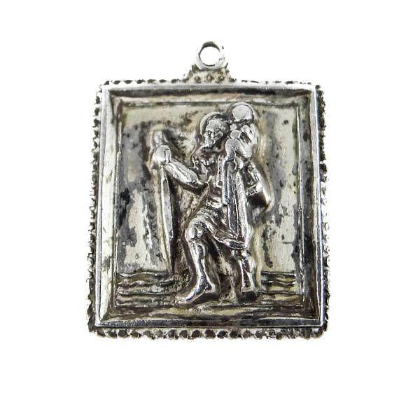 Vintage Saint Christopher Sterling Silver Pendant by M. de