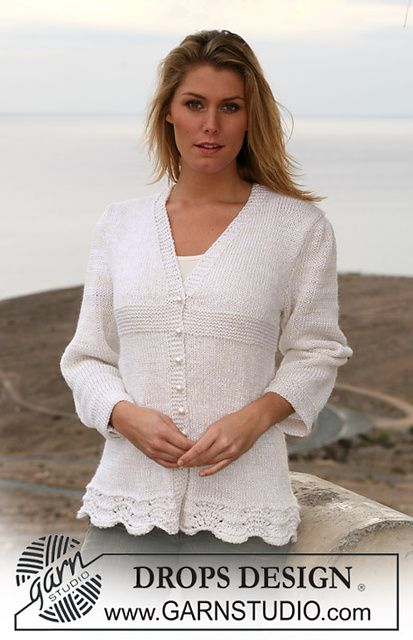 """Ravelry: 106-6 jacket in stocking st and garter st in """"Cotton Viscose"""" and """"Alpaca"""" pattern by DROPS design"""