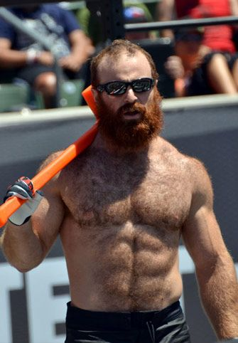 Manliness. He has it... along with a bald spot, shoulder hair, and Ginger hair. But none of that matters because he has a 1) sledgehammer, and 2) muscles on muscles.