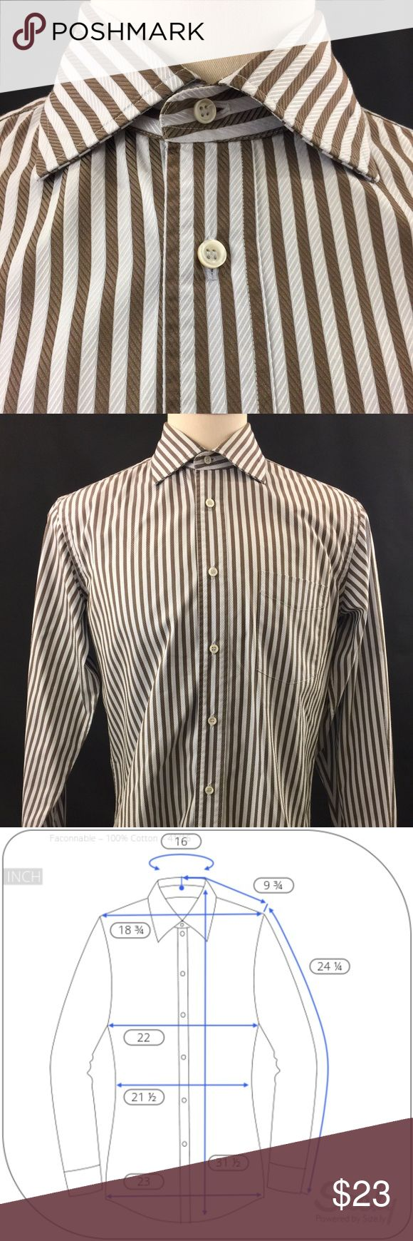 Faconnable L/S Button Up Pinstripe Mens 16 Shirt Please see pictures for measurements  I will ship within 24 hours (same day if I receive the order before 8am pst)  Thank you. Faconnable Shirts Dress Shirts
