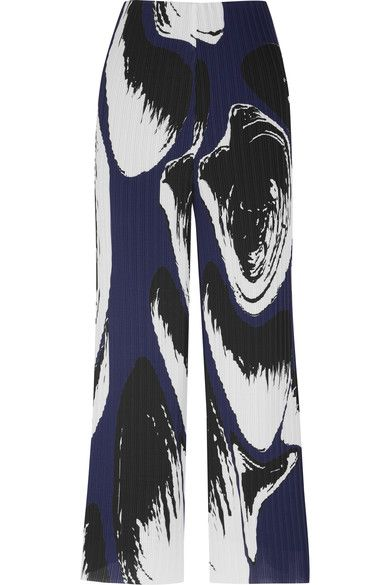 White, black and storm-blue plissé-georgette Concealed zip fastening along back 100% polyester Dry clean