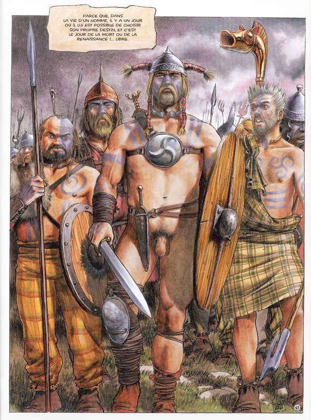 Celts To the battle.- ANNEE 52 av JC: Révolte de Vercingétorix, 4) Fin de la révolte, VERCINGETORIX SE REND A ALESIA, 4: Vercingétorix décide d'anéantir l'armée de César avant qu'elle n'ait pu rejoindre la province romaine. Mi-aôut, après l'avoir poursuivi, il lance sa cavalerie répartie en 3 corps contre l'armée romaine. Le proconsul fait de même avec sa cavalerie et le combat s'engage. La cavalerie Germaine nouvellement recrutée fait la différence, les cavaliers celtes sont massacrés.