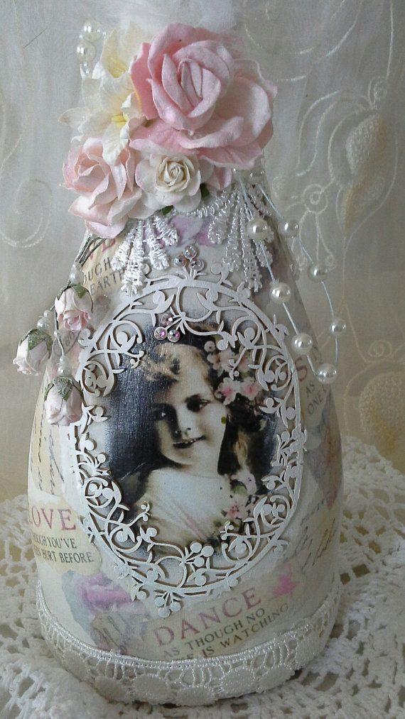 Shabby chic botella botella alterada botella decorativa por Aligri                                                                                                                                                                                 Más