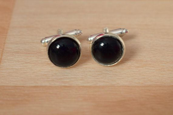 Black Agate Cufflink  Gemstone Cuff Link  Best Man by SkadiJewelry