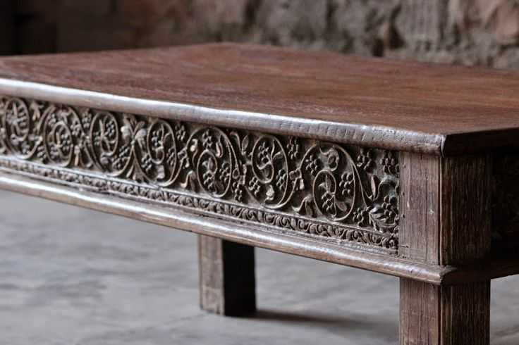 A close up of the beautiful Anala 'Intricate Carving' Coffee Table