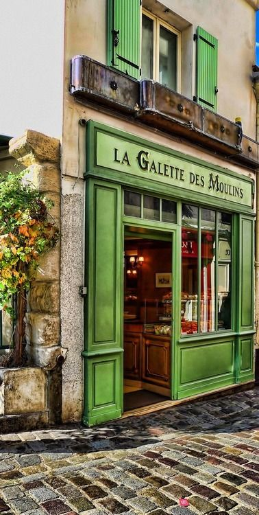 La Galette des Moulins, Paris. Even the storefronts are charming!